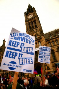Protestors in support of Manchester Advice outside Manchester Town Hall on 7 March, 2011