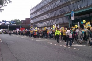 ATL lead the march down Oxford Road