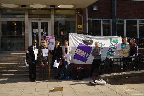 A picket line at the UCU strike in March