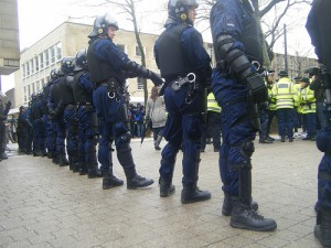 Police officers at the demonstration in Bolton on 20 March 2010. Photograph © trhippy on www.flickr.com
