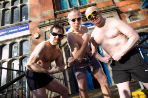 Howard Newhall, Ben Jones and Cllr Simon Wheale, in swimwear. Photograph: Phil Tragen