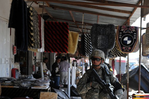 A US soldier on patrol during the March 2010 elections in Kirkuk