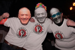 Levenshulme campaigners donned Richard Leese masks at a protest to save their baths and library. Photograph: Tony Gribben