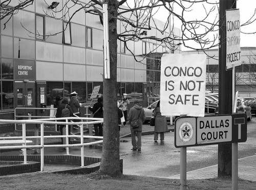 A protest outside Dallas Court, Salford. Photograph: Stephen Broadhurst (stephenbroadhurst) on flickr